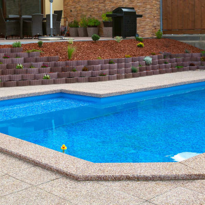 Bazénový lem rovný, atypický povrch Siena/Marrone