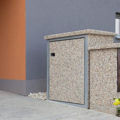 Betonový box na popelnice, oblázek 4-8 mm